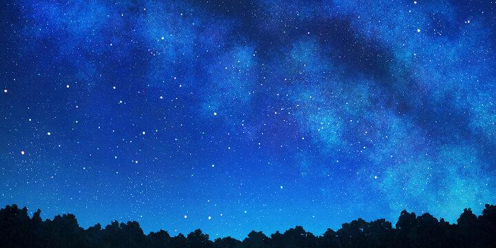 天の川の見える星空の背景