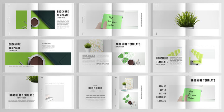 3d realistic vector layout of cover mockup design templates for bifold square brochure, flyer, cover design, book design, brochure cover. Home office concept, study or freelance, working from home.
