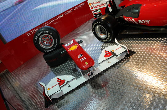 BOLOGNA, ITALY - 2 DECEMBER 2010: Ferrari Formula 1 F10 ex Fernando Alonso exhibited at the Bologna Motor Show. Italy