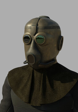 Steam Punk Trooper Portrait, 3d digitally rendered science fiction illustration