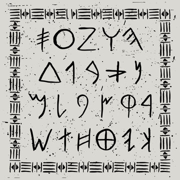 Vector Phoenician alphabet. Ancient runes in watercolor drawing style