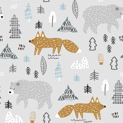 Seamless childish forest pattern with bear and fox. Perfect for fabric,textile. Creative Vector background