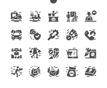 Fast service. Simple solution, time frame. Service people, staff. Work. Fast customer service, insurance, delivery. Vector Solid Icons. Simple Pictogram