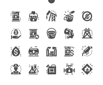 Oil Industry and gas. Fuel industry. Gasoline. Factory in operation. Producing material for development. Extraction of petroleum. Petrol canister. Vector Solid Icons. Simple Pictogram