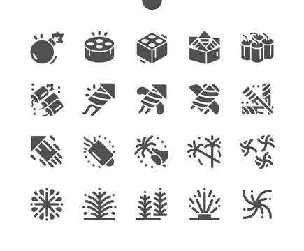 Fireworks. Salute with multiple charges. Festival firecracker, fireworks explosions, carnival party and celebration. Firework rocket. Explosive firecracker. Vector Solid Icons. Simple Pictogram