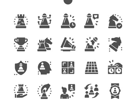 Chess piece. Board game. Chess figures. Chess victory medal. Timer in the game. King, queen, rook, knight, bishop, pawn. Vector Solid Icons. Simple Pictogram