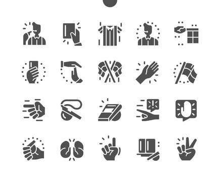 Referee stuff. Whistles and a silver bell. Referee of the game, championship, competition. Flags, disciplinary card. Hands. Vector Solid Icons. Simple Pictogram
