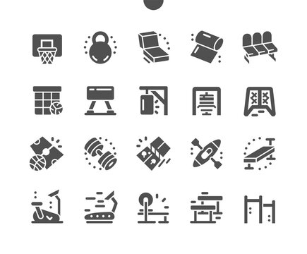 Coach stuff. Active lifestyle, sports. Exercise equipment in the gym. Yoga mat, gymnastic goat, kayak, exercise bike, punching bag. Vector Solid Icons. Simple Pictogram