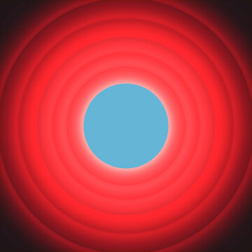 A cool retro vintage background, made of concentric red circles, with shadows, recalling the classical looney cartoons introductions.