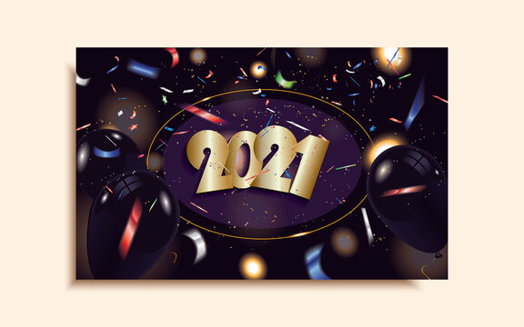 2021 Happy New Year postcard with black balloons and defocused colorful confetti isolated on dark sparkle background