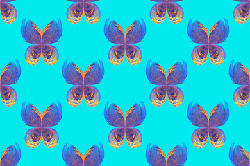Seamless background with fractal butterflies on aquamarine sky
