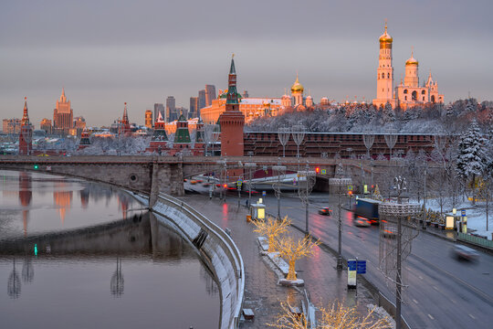 Sunrise view of Moscow Kremlin, embankment of Moscow River in Moscow, Russia. Architecture and landmark of Moscow