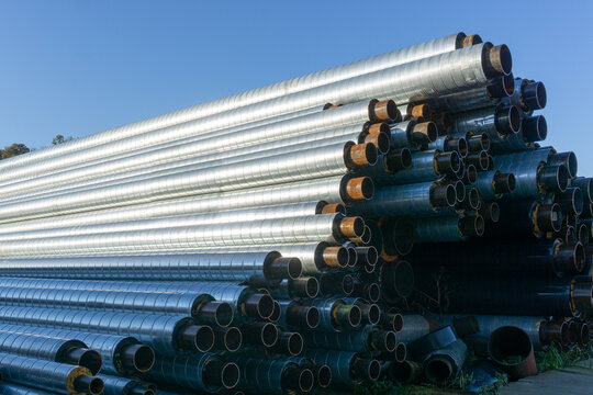 Water pipes. Heating main. Lots of metal water supply metal pipes in thermal insulation.