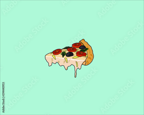 Wall mural Last pizza slice illustration for background and commercial Junk Food Comfort Food