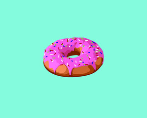 Wall Mural - Donut with pink glaze topping and sprinkles. Junk food Comfort Food