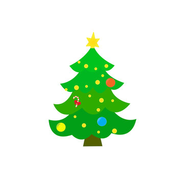 Decorated Christmas tree. Vector illustration.