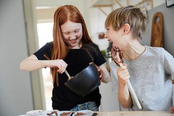 Children making muffins, Sweden