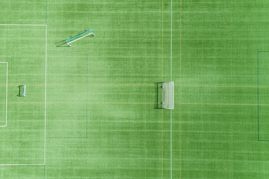 Aerial view of football pitch, Sweden