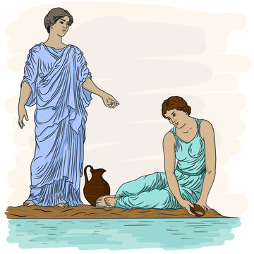 Two ancient Greek women in tunics near the river fill a jug with water and talk.