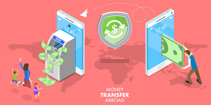 3D Isometric Flat Vector Conceptual Illustration of Transfer Money Abroad, Sending Money Around the World, Online Banking, Financial Transaction.