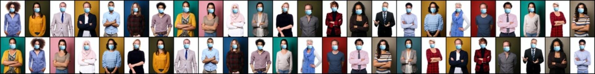 Beautiful of 19 people wearing a mouth mask