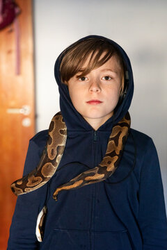 Boy with python on his shoulders, Sweden