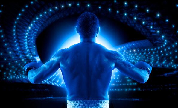 Boxer celebrating win on dark background. Sports banner