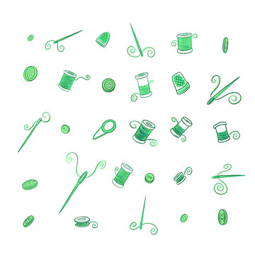 Sewing Equipment Needles, Thread Cotton Reels and Buttons for Crafts and Hobbies Sweet Illustrations