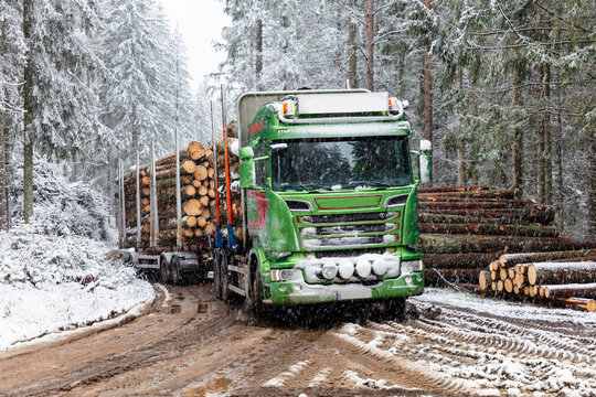 Lorry loaded with logs, Sweden