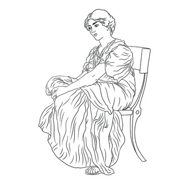 An ancient Greek young woman in a tunic sits on a chair. Figure isolated on white background.