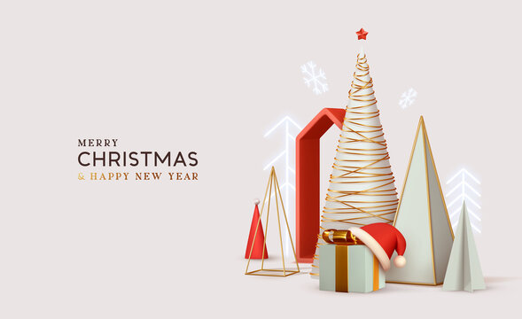 Merry Сhristmas and Happy New Year. Abstract minimal design, geometric Christmas trees, gift box, Realistic Xmas Decorative design objects. Winter holiday background. website header or banner, poster.