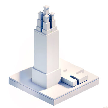 Modern City isometric icons for your project. Business and banking building, modern corporate architecture, Futuristic cityscape.