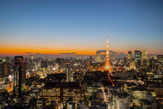View of Tokyo in the evening and Tokyo Tower