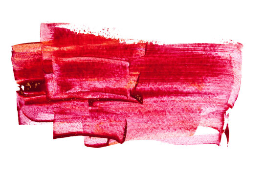 Red paint brush strokes isolated
