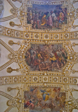 Italy, Marche, Fano, San Pietro in Valle church ceiling decoration.