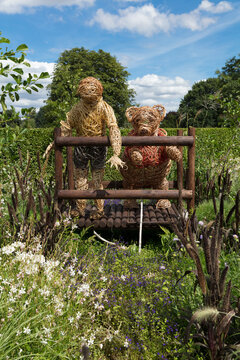 A Winnie the Pooh themed garden display in Homestead Park, York, North Yorkshire, UK - 4th August 2018