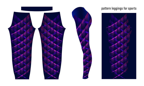 Abstract geometric pattern of purple stripes in a row color dark blue leggings for sports activities. Colorful print vector illustration.
