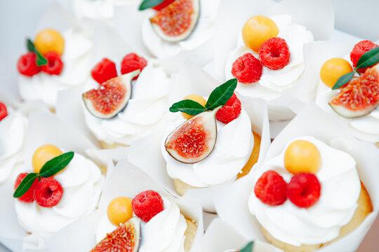 fruit cupcakes festive dessert, close-up view
