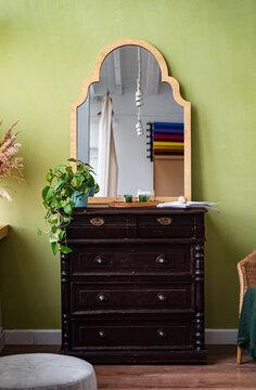 vintage sideboard  and mirror in living room