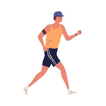 Young guy jogging with armband. Man running in summer sportswear. Sport activity. Male in shorts and trainers. Cardio workout. Colorful flat vector illustration isolated on white background