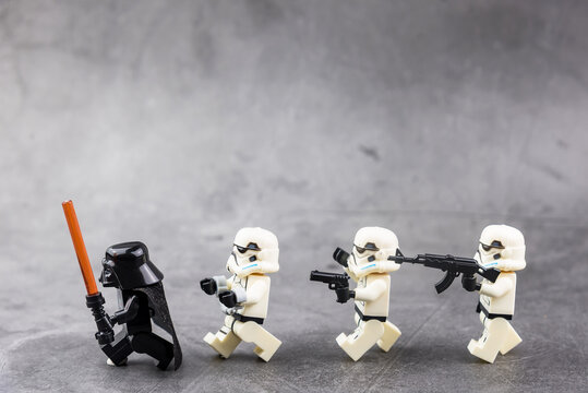 Bangkok, Thailand - November, 18, 2020 : Lego Star Wars Storm Troopers were arrested for violating military rules at Bangkok, Thailand