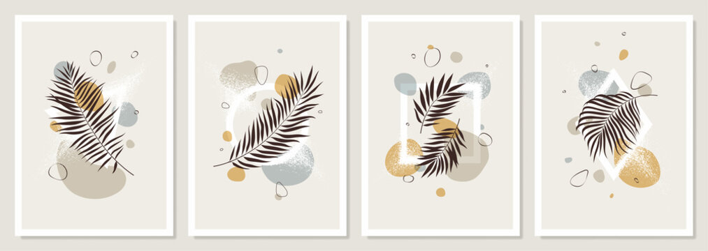 Set of pastel compositions of tropical leaves, liquid abstract shapes and geometric figures, trendy contemporary collage style, exotic  jungle poster