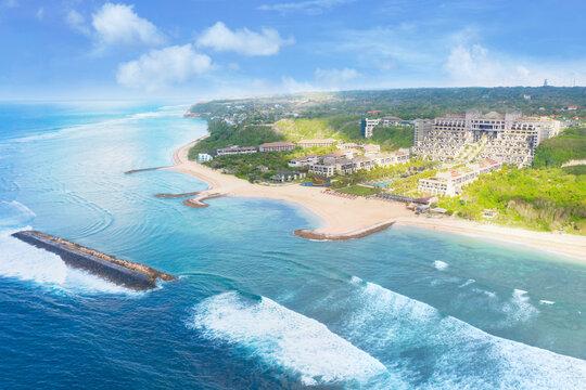 Beautiful coastline with hotel at Nusa Dua Beach