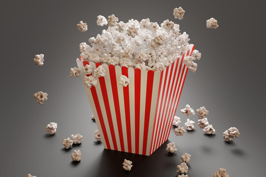 Fluffy popcorn in stripped bucked. 3D rendered illustration.