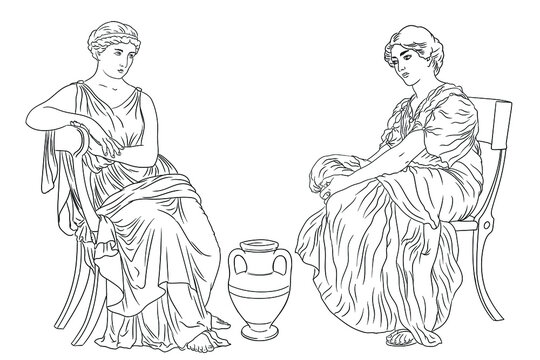 Two ancient Greek Woman sits on a chairs near a jug of wine. Figure isolated on white background.