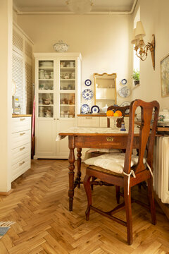 White rustic kitchen in old house