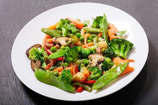 plate of stir fried vegetables