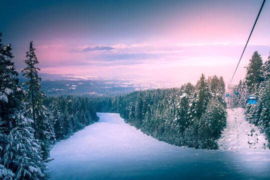 Ski resort Bansko, Bulgaria, ski lift