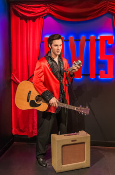 AMSTERDAM, NETHERLANDS - APRIL 25, 2017: Elvis Presley wax statue in Madame Tussauds museum on April 25, 2017 in Amsterdam Netherlands