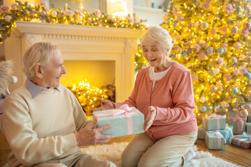 Elderly woman holding christmas gift from her husband and looking surprised